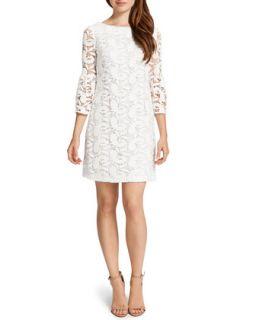 Womens Cora 3/4 Sleeve Lace Shift Dress, Lily White   Cynthia Steffe   Lily