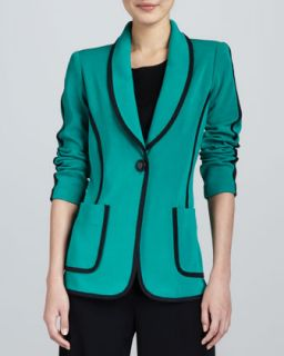 Womens Modern Faux Suede Piped Jacket, Petite   Misook   Emerald multi (PXS