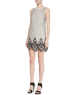 Womens Dot Embellished Shift Dress   Alice + Olivia   Cream/Black (12)