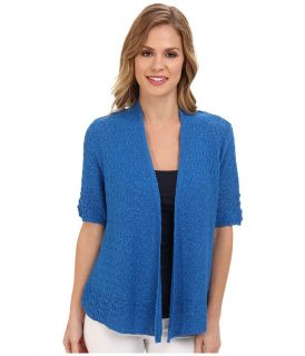 Jones New York 1/2 Sleeve Open Front Cardigan Womens Sweater (Blue)