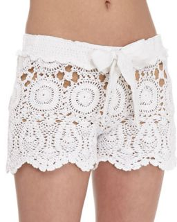 Womens Crochet Tie Waist Shorts, White   Letarte   White (MEDIUM)
