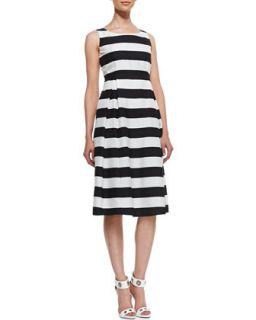 Womens Macenna Silk Full Skirt Dress   Lafayette 148 New York   Black/White (8)