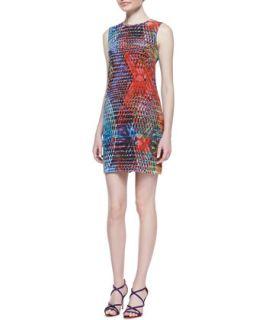 Womens Kaleidoscope Print Silk Shift Dress   M Missoni   Turquoise (38)