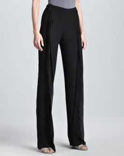Womens Double Layer Wide Leg Evening Pants, Black   Donna Karan   Black (10)