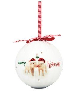 Shaded Pink 27046 Merry Kissmas Blinking Ornament, Pig Design and Saying, 4 1/2 Inch