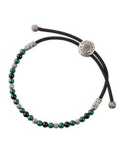 Mens Onyx & Malachite Cord Bracelet   John Hardy   Black/Onyx