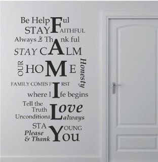 "39.4"" X 23.6"" Family I Love YOU Favorite Wall Saying Decal Sticker DIY Art Room Decor Mural Vinyl Home House Rules   Childrens Wall Decor"