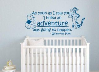 "Winnie the Pooh Nursery Wall Quote Decal ""As Soon As I Saw You, I Knew an Adventure Was Going to Happen"" with Winnie & Tigger Portrait Wall Sticker Giant Baby Children's Room Wall Art Sticker Vinyl Saying Decor Birthday Baby Shower Gift"