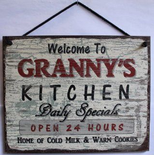 "Vintage Style Sign Saying, ""Welcome to GRANNY'S KITCHEN Daily Specials OPEN 24 HOURS Home of Cold Milk & Warm Cookies"" Decorative Fun Universal Household Signs from Egbert's Treasures"