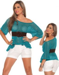Sexy See Through Aqua Blue Top   Extra Large: Blouses: Clothing