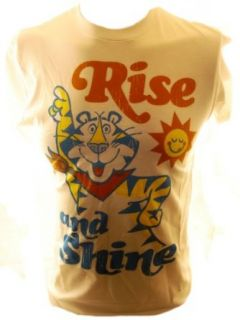 Frosted Flakes Mens T Shirt   Tony the Tiger Says its Time to Rise and Shine!: Clothing