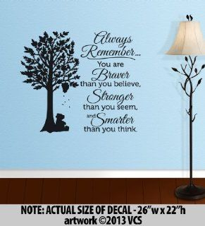 """BRAVER than you believe, STRONGER than you seem, SMARTER than you think"" LARGE Wall D�cor Sticker Vinyl Decal   Winnie the Pooh Quote   Wall Decor Stickers"