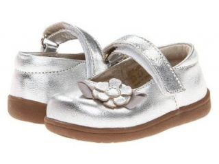 New See Kai Run Emily Silver leather Mary Jane with 3D Flower Toddler Girls Shoes: Mary Jane Flats: Shoes