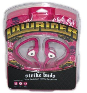 Lowrider Strike Buds Noise Isolation Stereo Earphones Pink/White LWD SKB3 As seen in and inspired by Lowrider Magazine   Tangle Free Wires   For Ipad, Ipod Touch, Nano, Classic, MP3 Players, Game Stations: Electronics