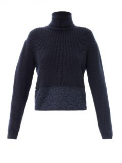 Lace trimmed roll neck sweater  No. 21