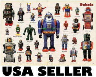 Robots tin toys space toys POSTER 34 x 23.5 with 27 classic robot toys from the 50s and 60s (sent FROM USA in PVC pipe)  Prints