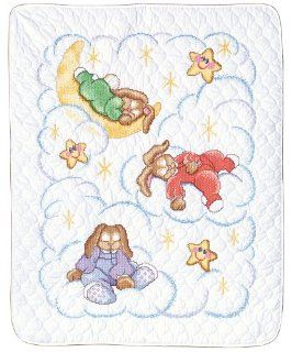 Janlynn Stamped Cross Stitch Kit, 43 1/2 Inch by 34  Inch, Heaven Sent Baby Quilt