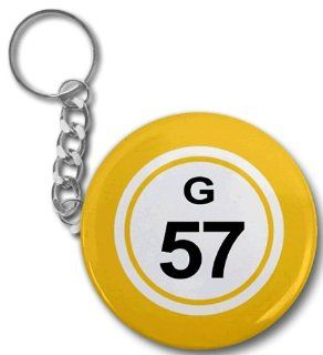 BINGO BALL G57 FIFTY SEVEN YELLOW 2.25 inch Button Style Key Chain : Other Products : Everything Else