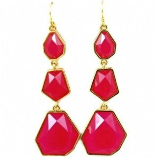 Fantasy Jewelry Box Womens Meradyth's Fuchsia Mixed Shape Dangle Earrings   As Seen In Woman's Day Magazine: Jewelry