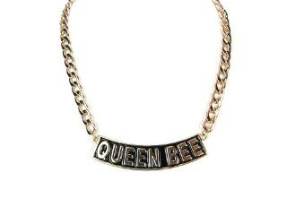 QUEEN BEE Necklace Small Gold and Black Women Fashion Celebrity Inspired Chain Link   As Seen on Brooke Bailey (Basketball Wives LA) and Nicki Minaj: Jewelry
