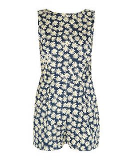 Madam Rage Navy Daisy Print Low Lace Back Playsuit