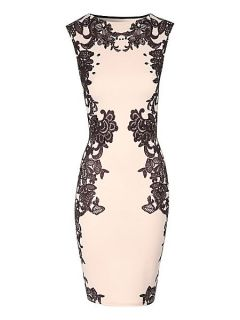 Jane Norman Lace print embellished bodycon dress Nude