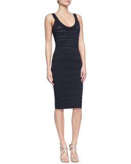 Womens LilyKate Scalloped Scoop Neck Bandage Dress   Herve Leger   Pacific