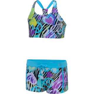 LAGUNA Girls Wild Zebra 2 Piece Swimsuit   Size: 7, Cotton Candy/zebra