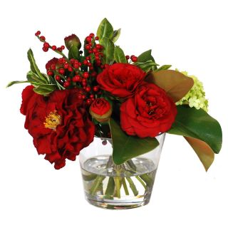 Jane Seymour Botanicals 13 in. Camelias and Holly Bouquet with Glass Vase Silk Flower Arrangement   Silk Flowers