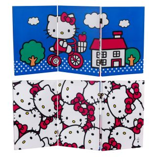 Oriental Furniture 2 ft. Double Sided Hello Kitty Bicycle Canvas Room Divider   Room Dividers