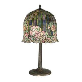 Dale Tiffany 29 in. Flowering Lotus Replica Antique Bronze/Verde Table Lamp TT10379