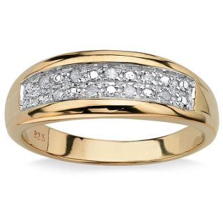 PalmBeach 18k Gold over Silver Mens 1/8ct TDW Diamond Pave Ring (G H