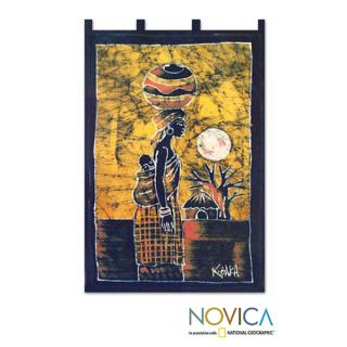 Handcrafted Woman from the Lakeside Batik Wall Hanging (Ghana
