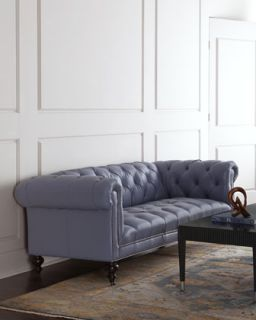 Old Hickory Tannery Morgan Periwinkle Tufted Leather Sofa