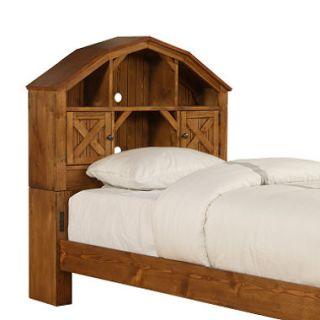 Dakota Dark Rustic Pine Twin Barn Bookcase Hdbrd