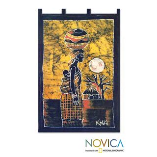 Handcrafted Woman from the Lakeside Batik Wall Hanging (Ghana)
