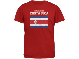 World Cup Distressed Flag Republica de Costa Rica Red Adult T Shirt
