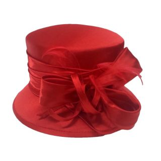 Swan Womens Red Silk Fabric Covered Hat with Silk Bow and Feathers