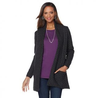 Jamie Gries Collection Basketweave Shawl Collar Cardigan   7833298