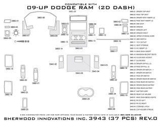 2009 2012 Dodge Ram Wood Dash Kits   Sherwood Innovations 3943 CF   Sherwood Innovations Dash Kits