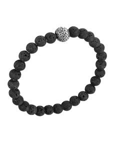 John Hardy Mens Batu Classic Chain Volcanic Bead Bracelet