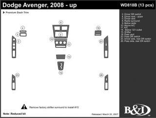 2008, 2009, 2010 Dodge Avenger Wood Dash Kits   B&I WD818B DCF   B&I Dash Kits
