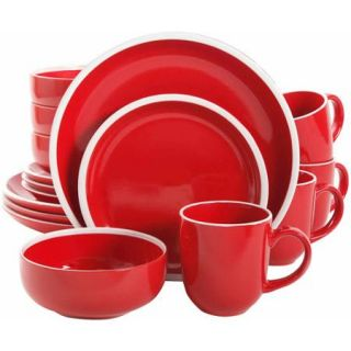 Gibson Home 16 Piece Ashby Red Dinnerware Set