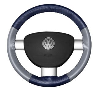 2015 Toyota Sienna Leather Steering Wheel Covers   Wheelskins Blue Perf/Grey 15 1/4 X 4 1/2   Wheelskins EuroPerf Perforated Leather Steering Wheel Covers