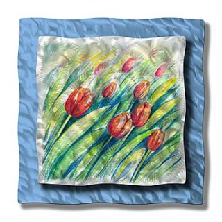All My Walls Swaying Tulips by Ash Carl Original Painting on Metal Plaque