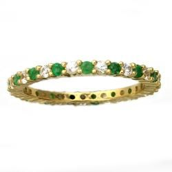 Beverly Hills Charm 10k Yellow Gold Emerald and White Sapphire