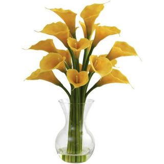 Nearly Natural Galla Calla Lily with Vase Arrangement, Yellow