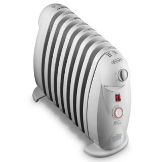 DeLonghi 1200 Watt 8 Fin Oil Filled Radiant Portable Heater with Timer and GFCI Plug TRN0812T