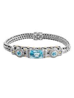 Batu Sari Blue Topaz & Diamond Rectangular Station Bracelet by John Hardy