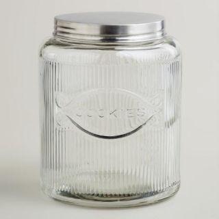 Large Hoosier Style Glass Cookie Jar
